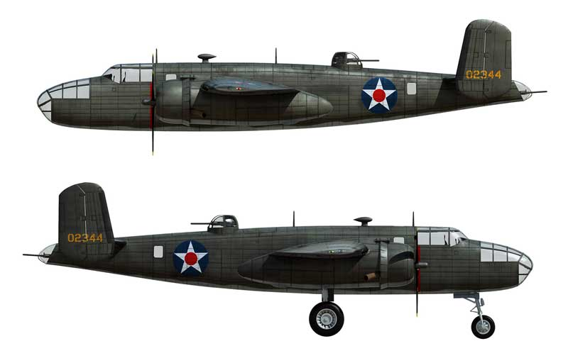 "B-25B Mitchell ""40-2344,"" Lt. Col. J.H. Doolittle, Co-Pilot Lt. R.E. Cole, 34th Squadron, April 18, 1942 (1:72) - Signature Version"