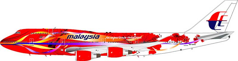 "Malaysian 747-400 ""Hibiscus"" 9M-MPD (1:200)"