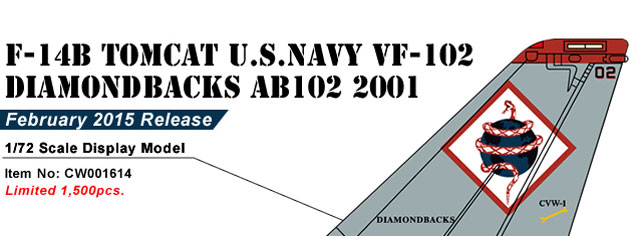 F-14B Tomcat USN VF-102 Diamondbacks, AB102, USS Theodore Roosevelt, Operation Enduring Freedom 2001 (1:72)