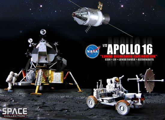 "Apollo 16 ""Lunar Highlands Exploration"" CSM + LM + Lunar Rover + Astronauts (1:72)"