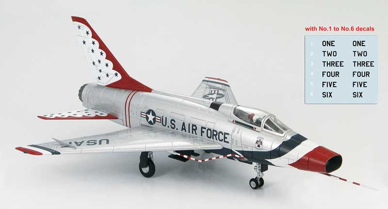 F-100D Super Sabre, USAF, 1967 (1:72) Includes Aircraft No. 1 to No. 6 Decals