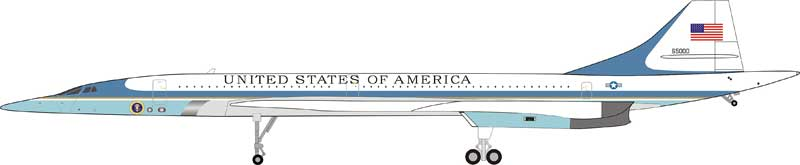 USAF Concorde, Air Force One #65000 with black stand and collector coin (1:200) - Preorder item, order now for future delivery