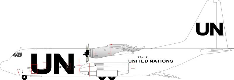 United Nations Lockheed L-100-30 Hercules (L-382G) ZS-JIZ (1:200) - Preorder item, order now for future delivery