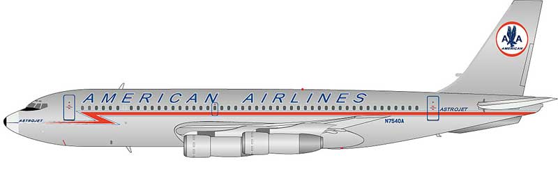American Airlines 720-023B N7540A Polished, With Stand (1:200)
