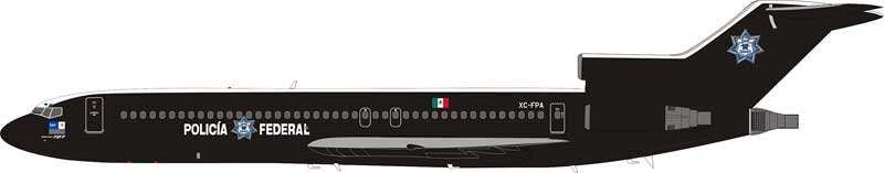 Mexico Policia Federal Preventiva - PFP Boeing 727-200 XC-FPA (1:200) - Preorder item, order now for future delivery