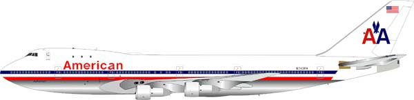 American Airlines 747-121 N743PA (1:200) Polished - Preorder item, order now for future delivery