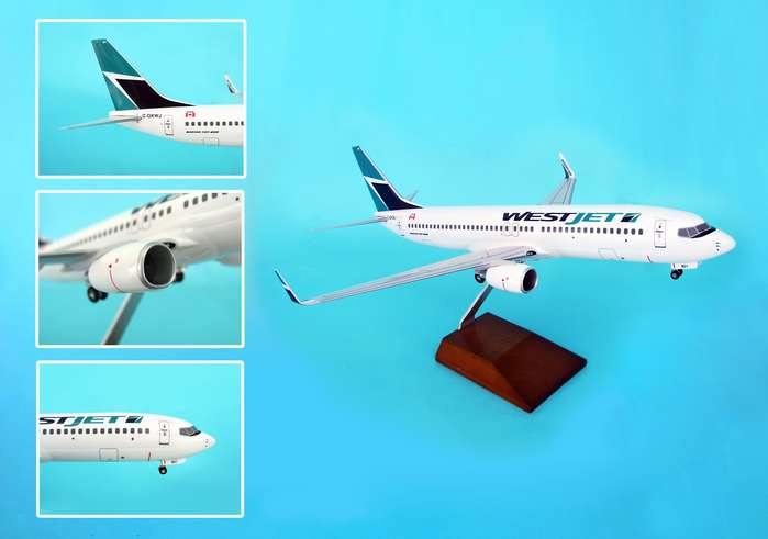 Westjet 737-800 W/GEAR & Wood Stand (1:100)
