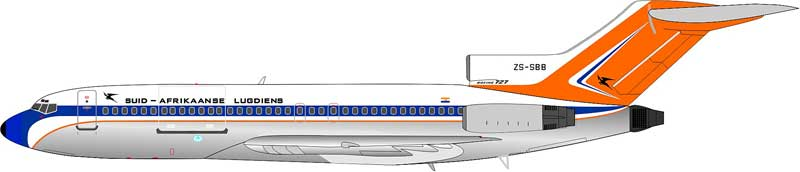 Suid-Afrikaanse Lugdiens B727-44 Polished (1:200) ZS-SBB