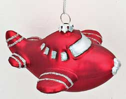 Red Glass Airplane Ornament w/ White Glitter