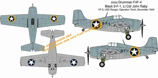 "F4F-4 Wildcat ""Black 9-F-1"", VF-9 ""Cat o Nines""  (1:72)"