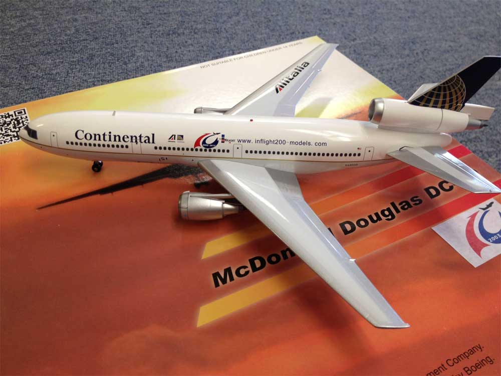 "Continental/Alitalia DC-10 ""InFlight Models 10 Year Anniversary (1:200)"