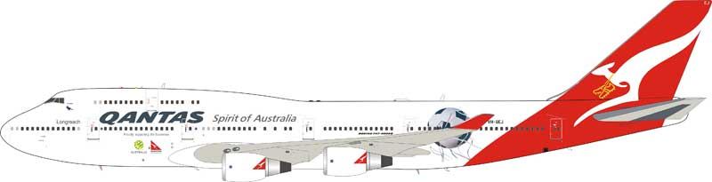 "Qantas 747-438/ER VH-OEJ ""Socceroos livery"" with stand (1:200)"