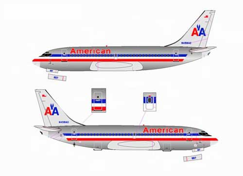American Airlines 737-200 ~ N458AC, Polished (1:400)