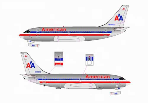 American Airlines 737-200 ~ N469AC, Chrome (1:400)