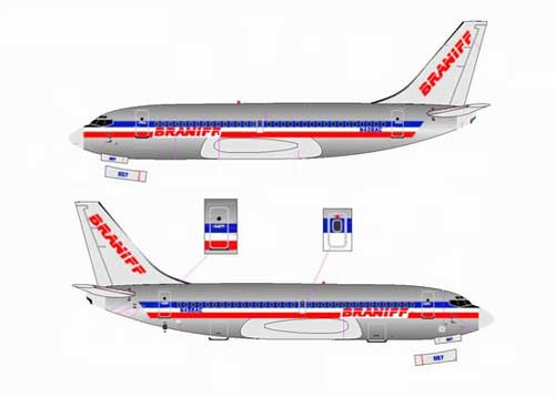 "Braniff/American 737-200 ""Airline Hybrid Colors"" ~ N458AC, Chrome (1:400)"
