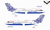 "British Airways Bae-146-300 ~ G-BXAR ""Special Tail - Delftblue Daybreak"" (1:400)"