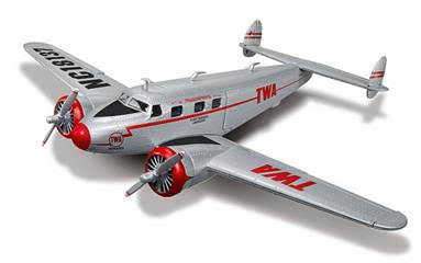 1937 Lockheed 12A Electra Jr. (1:50) Wings of Texaco Airplane Series #24, 2016 Special Edition in Silver with TWA Trans World Airlines Graphics
