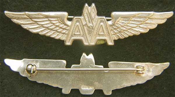 American Airlines Sterling w Gold Plate Stewardess Wings Sterling Type II American Airlines, American Stewardess, Stewardess