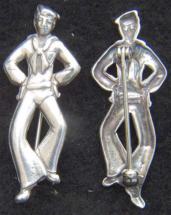 WWII Sailor Pin Sterling Silver WWII Sailor, sailor pin, sailor sweetheart