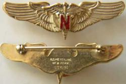 WWII Flight Nurse Red N Sterling w Gold Plate pin back