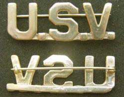 1898 Span Am US Army Volunteer Gilt on Sterling collar
