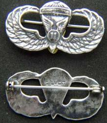 Post WWII 11th Airborne Paratrooper Badge Sterling