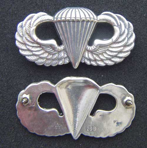 Post WWII Paratrooper Badge Assman Paratrooper Badge, Assman Insignia, Sterling Paratrooper