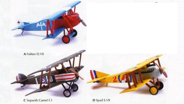 World War I Airplane Set, 3 Easy Build Models