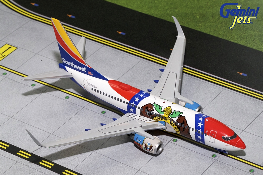 "Southwest B737-700 Sharklets ""Missouri One"" N280WN (1:200) - Preorder item, order now for future delivery"