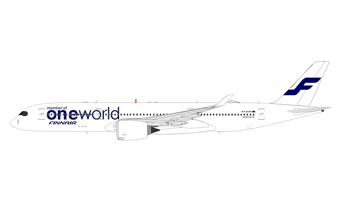 "Finnair ""One World"" Airbus A350-941 OH-LWB with stand, Flaps Up (1:200)"