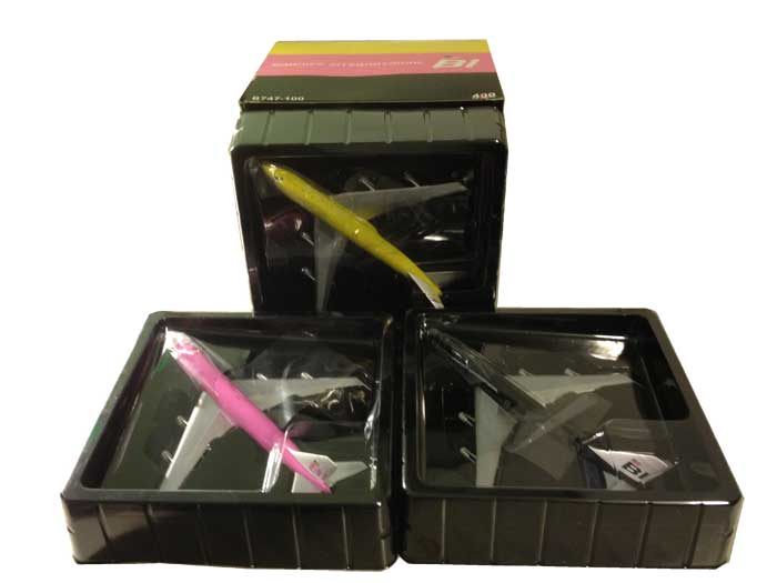 Braniff International 747-100: set of three fantasy models, Pink, Yellow, Black (1:400) Very Rare