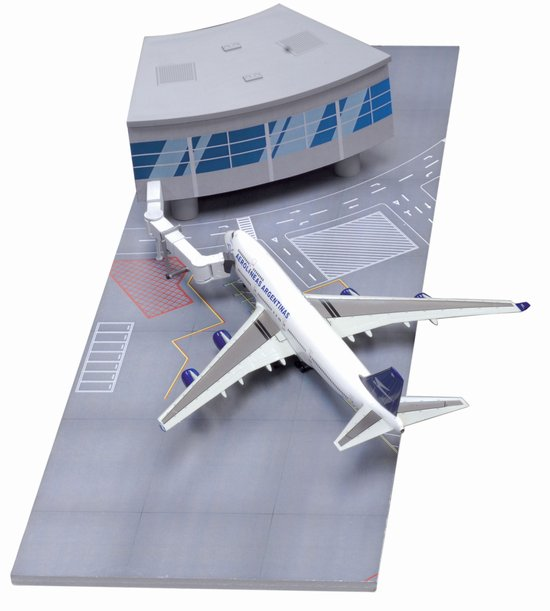 Airport Terminal Section with Aerolineas Argentinas 747-400 (Curve Terminal Section) (1:400)
