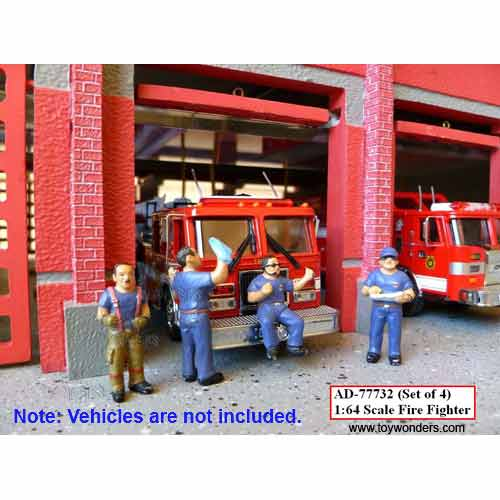 Fire Fighter Metal Figures Set of 4 (1:64) (Blue), American Diorama Buildings Item Number 77732