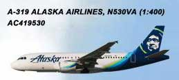 Alaska Airlines A319 N530VA (1:400) by AeroClassics Models Item Number AC419530