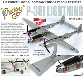 "P-38J Lightning, ""Pudgy IV"" 431st FS, 475th FG, Maj. Thomas McGuire (1:48) New Mould!, Air Force 1 Diecast Item Number AF1-0150"