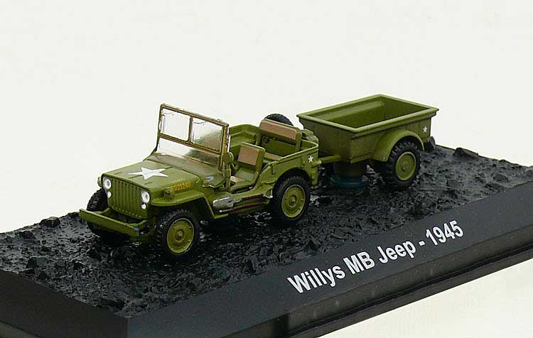 Willys MB Jeep with Bantam T3 Trailer, 2nd Battalion, 14th Marine Division, USMC, Iwo Jima, 1945 (1:72), Amercom Diecast Item Number ACBG24