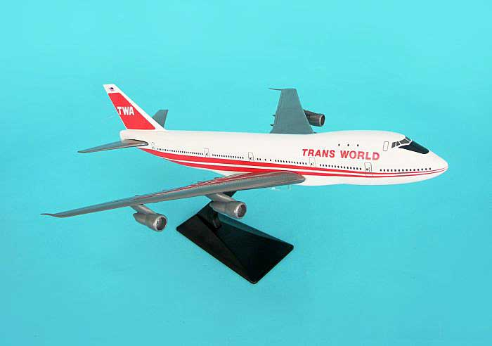 TWA Red Stripe B747-100 (1:200), Flight Miniatures Snap-Fit Airliners, Item Number BO-74710I-014