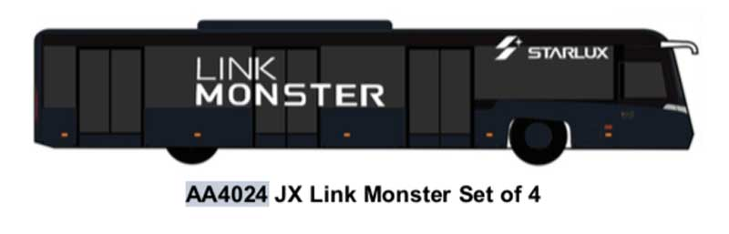 Airport Bus, JX Link Monster. Set of 4 (1:400)