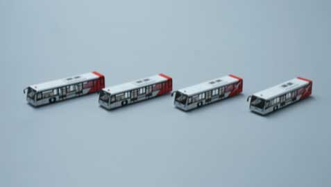 Airport Bus Set, Qantas Livery, 4 (1:400)