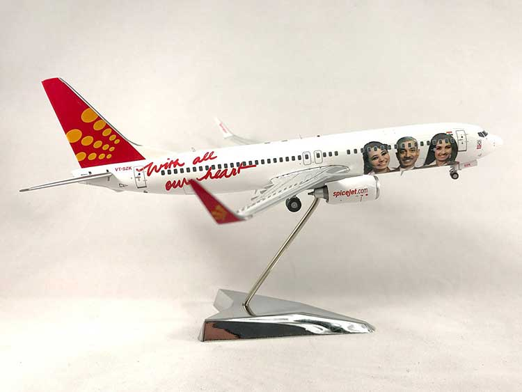 "Spicejet Boeing 737-800W ""VT-SZK"" Employee Logo Colors (1:200), GeminiJets 200 Diecast Airliners Item Number G2SEJ432"