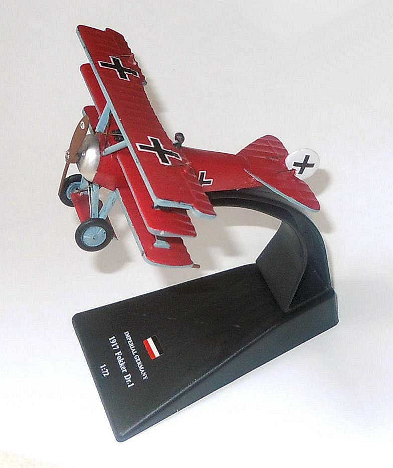 "Fokker Dr. I Triplane, Manfred von Richthofen's ""The Red Baron"" Jagdgeschwader 1, Somme, April 1918 (1:72 ), Amercom Diecast Item Number ACSL01"