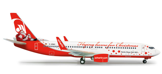 Air Berlin 737-800 (1:200) Flying Home For Christmas, Herpa 1:200 Scale Diecast Airliners Item Number HE555364