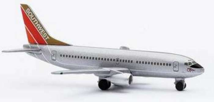"Southwest B737-300 ""SILVER ONE"" (1:500), Herpa 1:500 Scale Diecast Airliners Item Number HE500555"