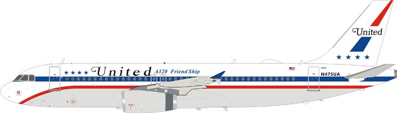 "United Airlines Airbus A320-200 N475UA ""A320 Friend Ship"" (1:200), InFlight 200 Scale Diecast Airliners Item Number IF322UA008"