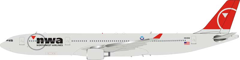 Northwest Airlines NWA Airbus A330-323 N808NW (1:200), InFlight 200 Scale Diecast Airliners, Item Number IF333NW0918