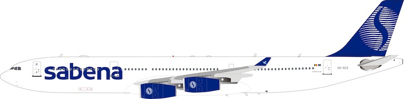 Sabena Airbus A340-300 OO-SCZ (1:200) - Preorder item, order now for future delivery, InFlight 200 Scale Diecast Airliners, Item Number IF343SB0119