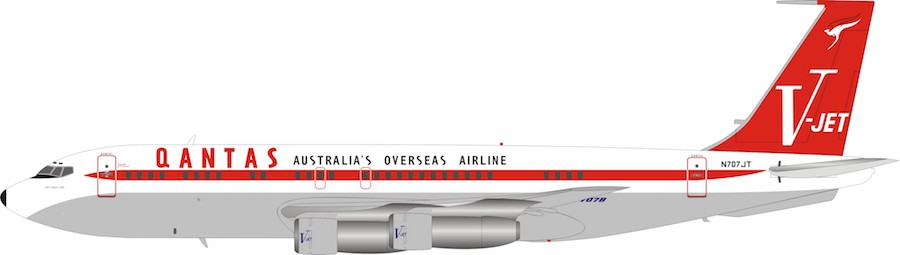 Qantas (John Travolta)  Boeing 707-100 N707JT (1:200) , InFlight 200 Scale Diecast Airliners Item Number IF7071JTP