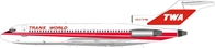 Trans World Airlines TWA N831TW Boeing 727 with stand (1:200)
