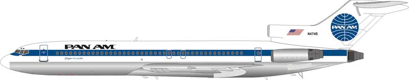 "Pan Am Boeing 727-200 ""Clipper Invincible"" N4745 (1:200), InFlight 200 Scale Diecast Airliners Item Number IF7221117P"
