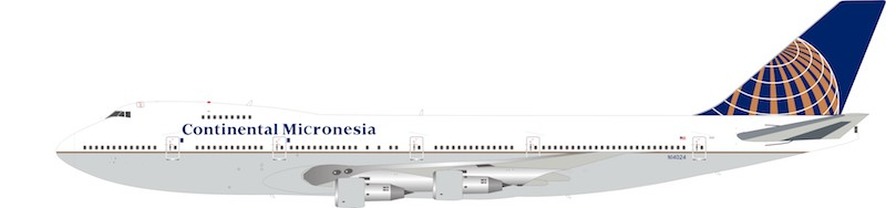 Continental Micronesia Boeing 747-238B N14024 (1:200) 72 MODELS, InFlight 200 Scale Diecast Airliners, Item Number IF742CS1218